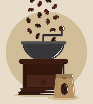 Coffee brewing, grinder roaster grains and sack product vector illustration