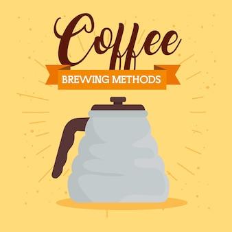 黄色の背景デザインにティーポットを使用したコーヒーの淹れ方