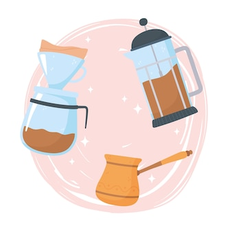 Coffee brewing methods, alternative of different way, french press turkish and drip illustration