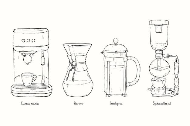 Сборник методов приготовления кофе Бесплатные векторы