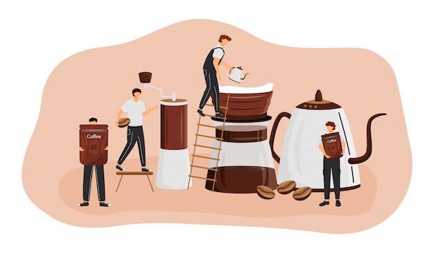 커피 양조 방법 개념 그림. 에스프레소를 만드는 남자. 아메리카노 준비 과정. 신선한 음료를 제공합니다. 웹 바리 스타 만화 캐릭터. 커피 숍 창의적인 아이디어