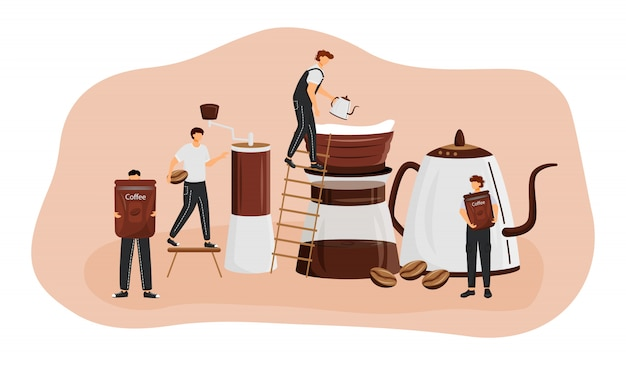 Coffee brewing methods  concept  illustration. man making espresso. americano preparation process. serving fresh drink. barista  cartoon characters for web . coffeeshop creative idea