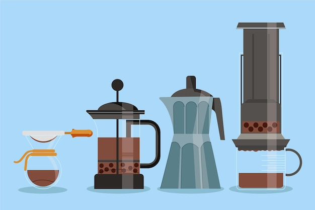 Coffee brewing methods concept