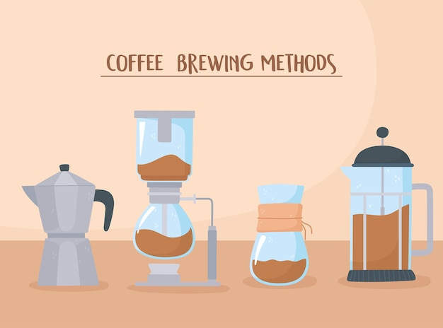 Coffee brewing methods different style with moka pot french press drip and filter illustration