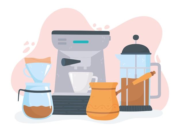 Способы заваривания кофе, эспрессо-машина, французский пресс, турецкий язык, и иллюстрация капельного набора