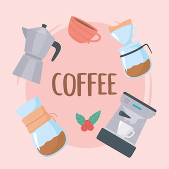 Coffee brewing methods, french press, filter coffee, coffee maker illustration