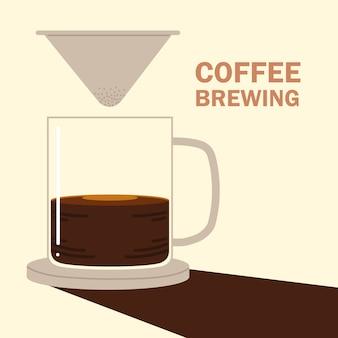 Способы заваривания кофе, капельный горячий напиток с кофейной чашкой
