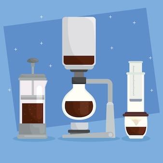 青い背景デザインに設定されているコーヒーの醸造方法アイコン
