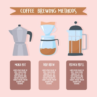 Coffee brewing methods, instructions different style illustration