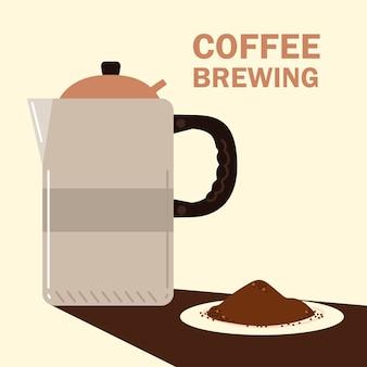 Способы заваривания кофе, чайник и семена в блюдце