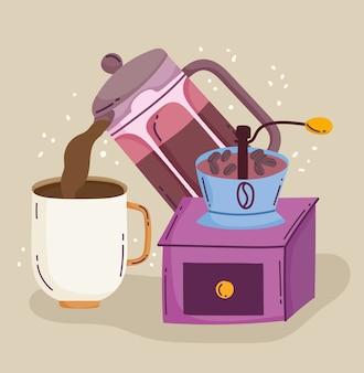 コーヒーの淹れ方、カップとグラインダーのマニュアルに注ぐやかん