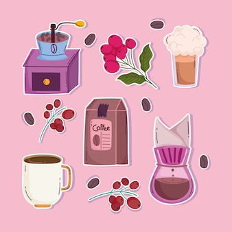 Способы заваривания кофе, ручная кофемолка, чашки, капельницы, ветки и семена