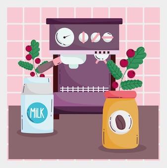 コーヒーの淹れ方、乳製品ボトルのエスプレッソマシンと種子