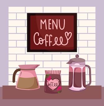Coffee brewing methods, package french press kettle and singboard menu