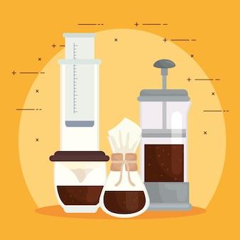 コーヒーの醸造方法は、黄色の背景デザインにアイコンを設定します