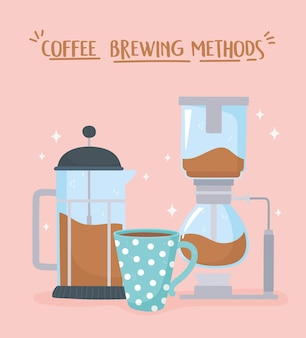 Coffee brewing methods, syphon french press and coffee cup illustration