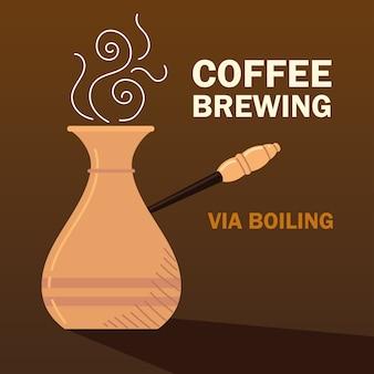 Способы заваривания кофе, кипячение горячего напитка турецкая турка, темный фон