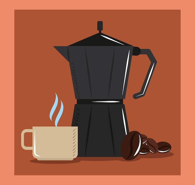 Coffee brewing, moka pot cup and grains aroma hot vector illustration