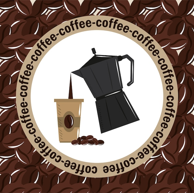 Coffee brewing, moka pot pouring beverage on disposable cup vector illustration