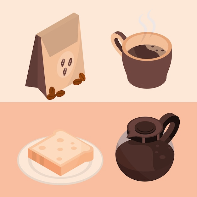 Coffee brewing package pot bread isometric icons illustration