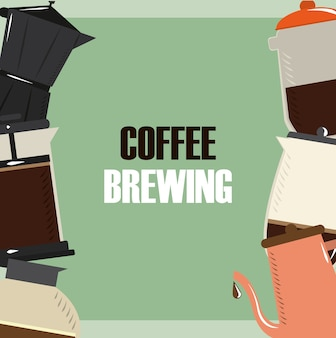 Coffee brewing, pot kettle maker hot drink poster vector illustration