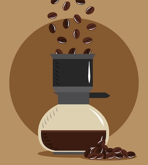 Coffee brewing, pouring grains in maker drink hot vector illustration