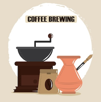 Coffee brewing, turkish pot grinder and package seeds vector illustration