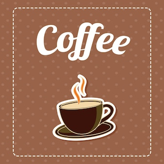 Coffee in brown pattern background