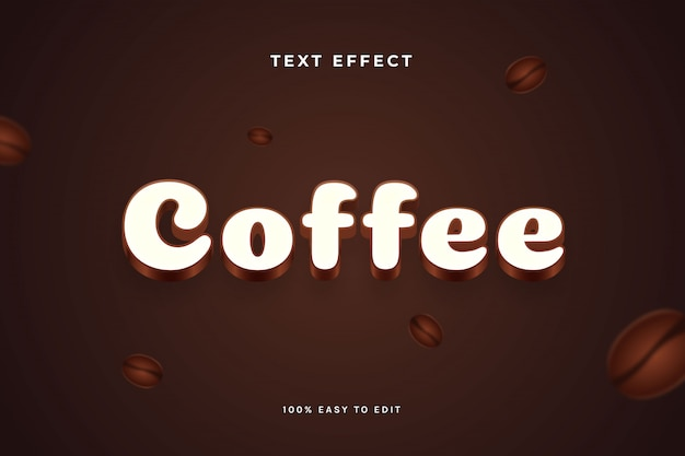Coffee brown white text effect