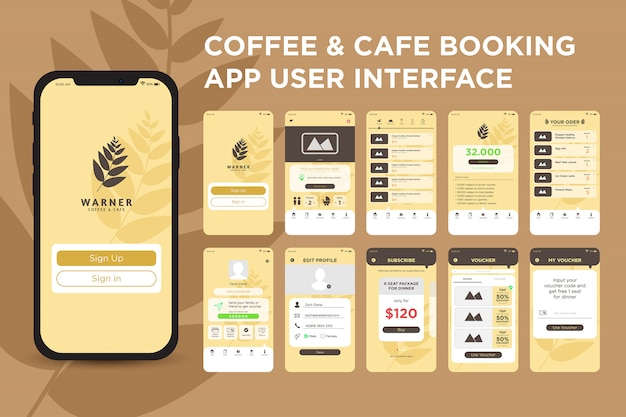 Coffee and cafe booking app ui kit template