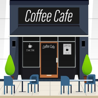 Coffee cafe front vector.