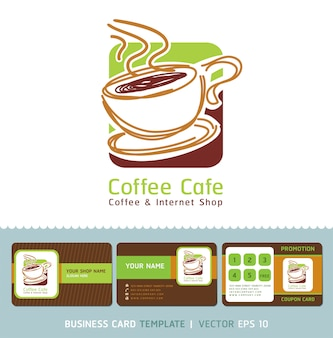 Coffee cafe icon logo and business cards.