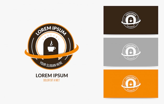 Coffee cafe logo badge set
