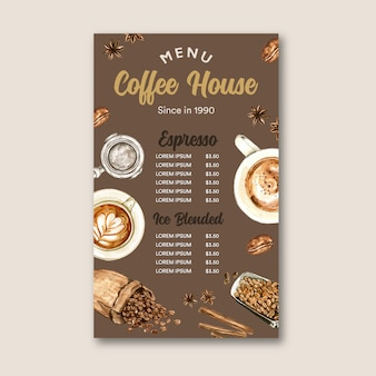 Coffee cafe menu americano, cappuccino, espresso menu with bag bean, watercolor illustration