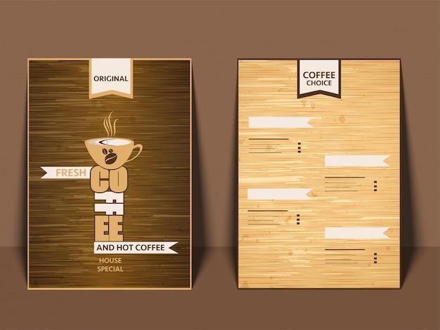 コーヒー・カフェ・メニュー表の表裏を見せるカードデザイン