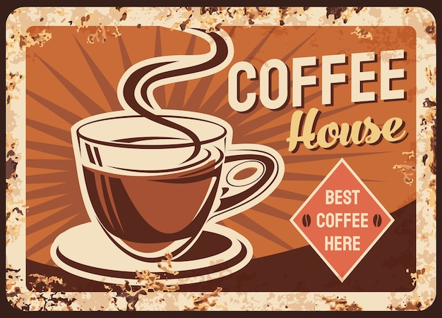 コーヒー、カフェの金属板またはさびたポスター、古いレストランのレトロな看板。