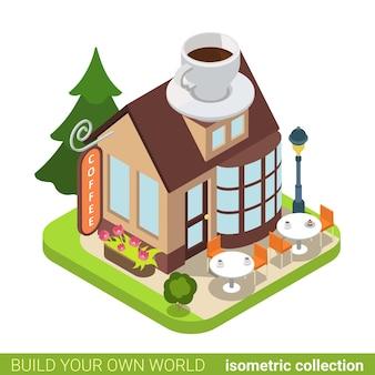 커피 카페 레스토랑 건물 부동산 부동산 개념.
