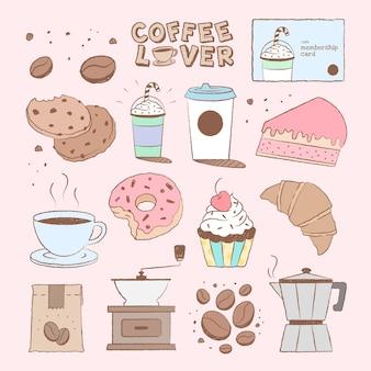 Insieme di vettore carino elemento di design torta e caffè
