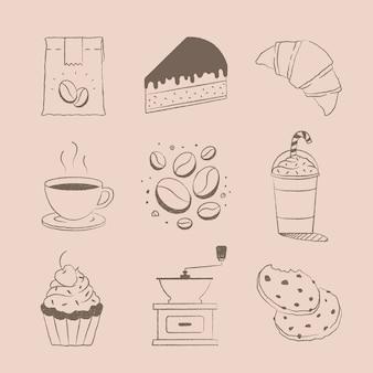 Insieme di vettore dell'elemento di disegno della torta e del caffè