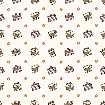 Coffee and cake seamless pattern