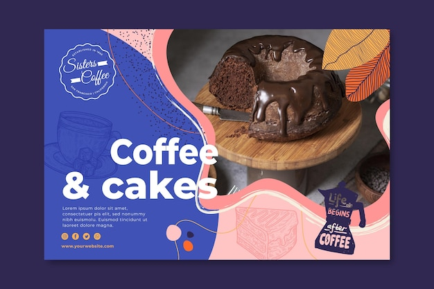 Coffee and cakes shop banner template