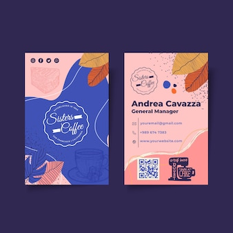 Coffee and cakes shop business card template