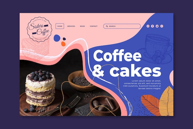 Coffee and cakes shop landing page template