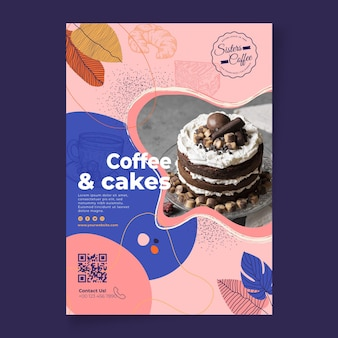 Coffee and cakes shop poster template