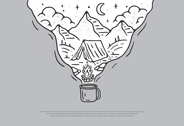 プレミアムラインスタイルのコーヒーキャンプデザイン、