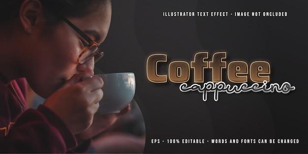 Шаблон баннера кофе капучино с редактируемым текстовым эффектом