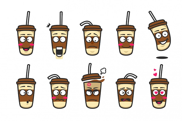 Coffee cardboard cup character cartoon mascot emoji kit set