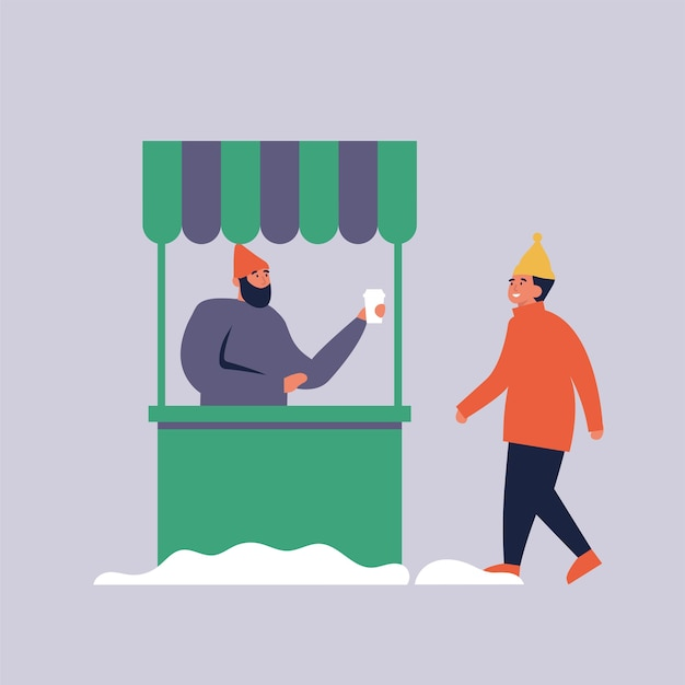 Coffee cart or shop with seller