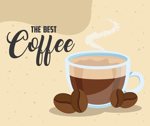 Напиток кофейной керамической чашки с семенами и надписью