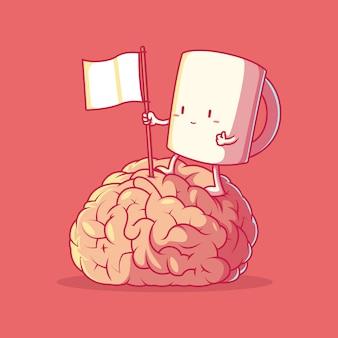 Иллюстрация мозга персонажа кофе восхождение. мотивация, вдохновение, концепция энергетического дизайна